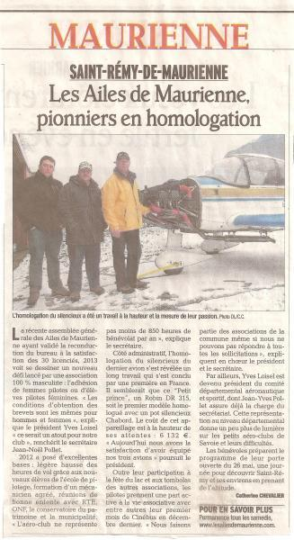 Le Dauphiné Libéré du 22 01 2013 montage silencieux Chabord DR 315 AILES DE MAURIENNE